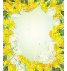 spring flowers frame vector image vector image