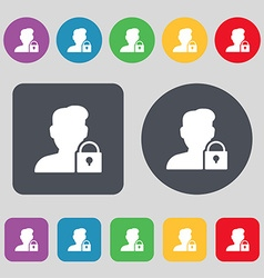 user is blocked icon sign A set of 12 colored vector image vector image