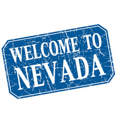 Welcome to nevada blue square grunge stamp vector