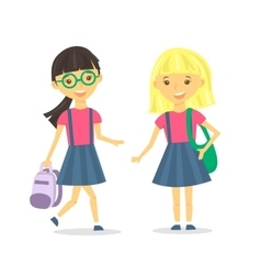 Cute school girls with school backpack vector image