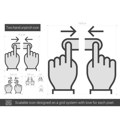 Two hand unpinch line icon vector