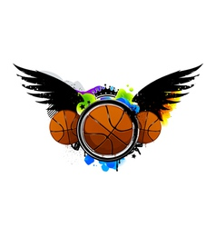 Graffiti image with basketballs vector