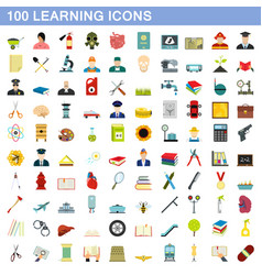 100 learning icons set flat style vector