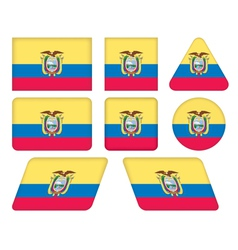 Buttons with flag of ecuador vector