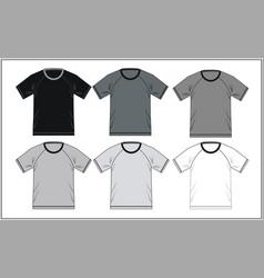 t shirt template raglan black white vector image