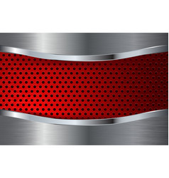 Metal background with red perforation steel plate vector