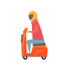 Man riding orange motorbike cartoon vector