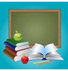 Chalkboard and books vector image