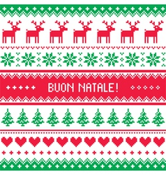 Buon natale card - scandynavian christmas pattern vector