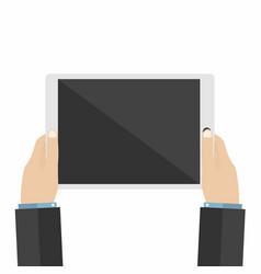 businessman holds tablet pc using digital tablet vector image