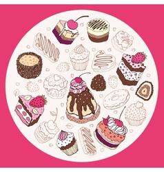 Set of cute cake vector