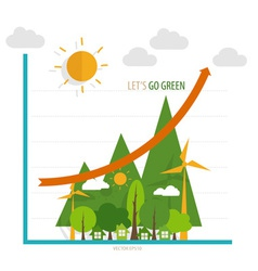 Green economy concept graph of growing vector