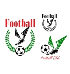 Football emblems with winged boots and balls vector
