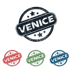 Round venice city stamp set vector