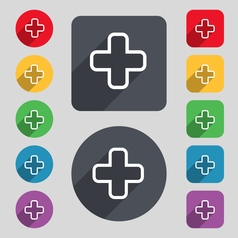 Plus icon sign a set of 12 colored buttons and a vector