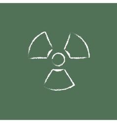 Ionizing radiation sign icon drawn in chalk vector