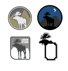Set of icons logo moose emblem for hunters or for vector