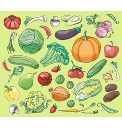 Doodle set of vegetables vector