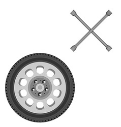 Car wheel and wrench vector