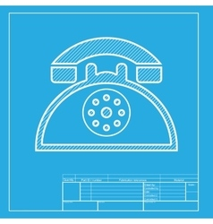 Retro telephone sign white section of icon on vector