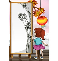 A girl in front of a bamboo painting vector image