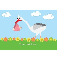 A stork that brings a baby girl vector image vector image