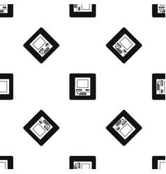 Atm bank cash machine pattern seamless black vector