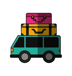 Car vehicle travel with suitcases icon vector