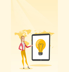 Caucasian woman pointing at a big tablet computer vector