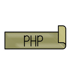 Colored pencil silhouette label text of php vector