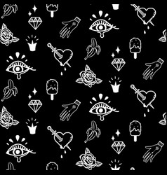 Flash tattoo style black doodles seamless vector