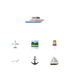 Flat icon summer set of aircraft yacht boat and vector