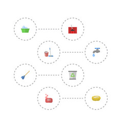 Flat icons sponge carpet vacuuming mopping and vector