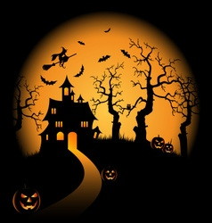 Halloween night orange background with witch and vector