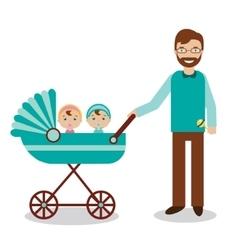 Happy father with newborn children in babystroller vector