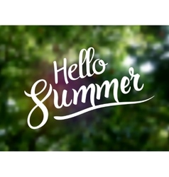 Hello summer lettering typography on nature green vector image