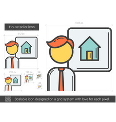 House seller line icon vector