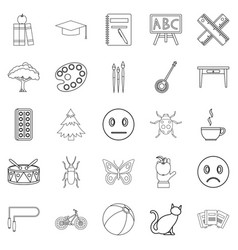 Literate icons set outline style vector
