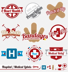 Medical and hospital labels and icons vector
