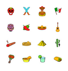 Mexico icons set cartoon vector