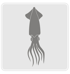 Monochrome icon with squid vector