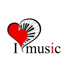 music heart with text vector image vector image