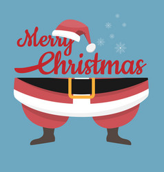 santa claus legs and hat with merry christmas vector image
