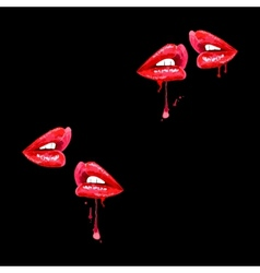 seamless black background with red lips vector image vector image