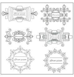 Set logos elegant ornament lines on a white vector image vector image
