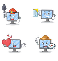 Set of monitor character with miner juice heart vector