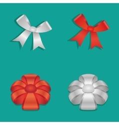 Shiny Ribbon Bow set vector image vector image