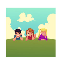 three happy children lying on green grass under vector image