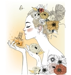 Vintage fashion girl with perfumes vector image