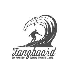 vintage surfing label badge and emblem vector image